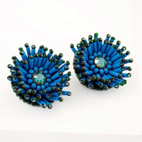 Green stud earrings