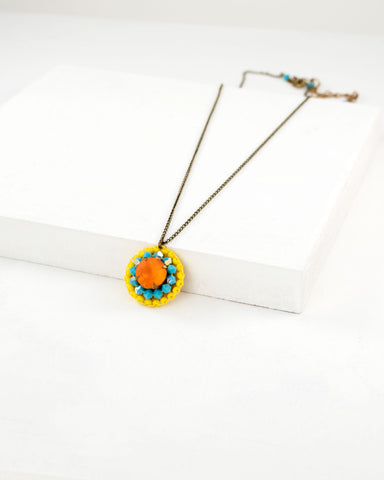 Orange yellow and turquoise swarovski pendant necklace