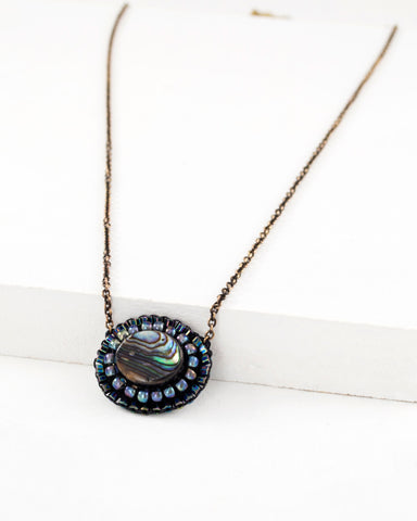 Handmade delicate abalone necklace by Exquistry