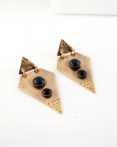 Brass geometric statement dangles | Blue black earrings