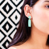 Light green arch drop earrings | Mint patina earrings