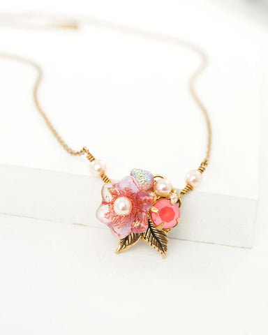 Peach pink floral dainty necklace with antique brass