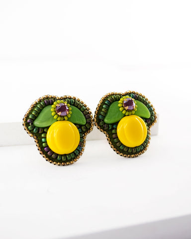 Lemon leaves retro style big clip-on statement earrings