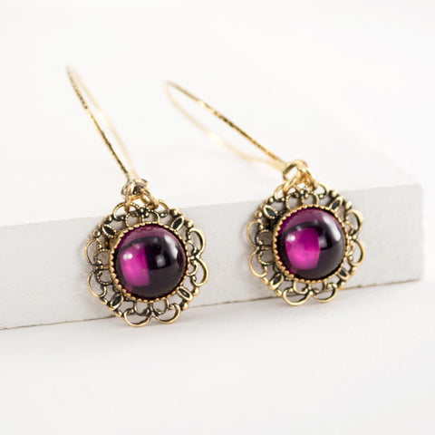 Plum colored earrings