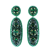 Emerald green statement dangle earrings - Exquistry - 1