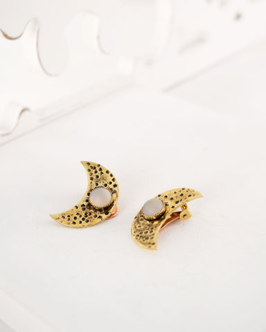 Crescent moon brass clip on earrings | hand textured studs