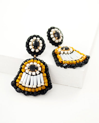 Black cream dangle earrings | unique hand beaded earrings