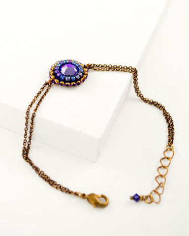 Purple gold bracelet | dainty swarovski beaded bracelet