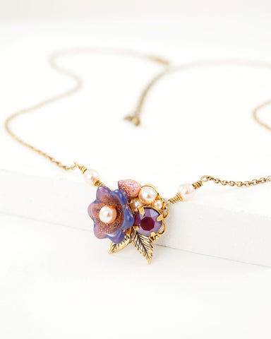 Lavender lilac floral dainty necklace with antique brass