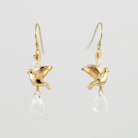 Gold bird earrings | Rock crystal earrings | Gold earrings