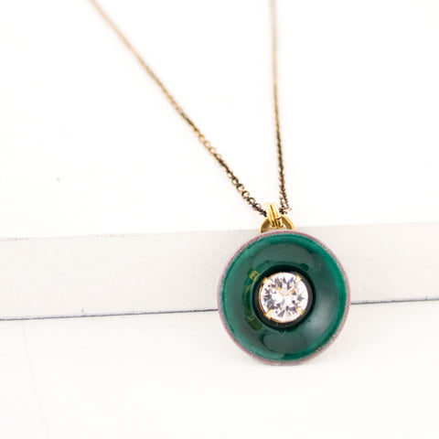 Green enamel pendant necklace
