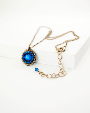 Delicate blue swarovski brass chain necklace