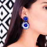 White & blue hand beaded statement earrings