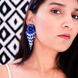 Vintage style beaded confetti earrings | Blue white statement clip-ons