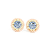 Dusty blue, blush, ivory stud earrings - Exquistry - 1