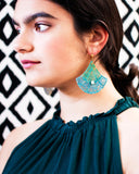 Teal, mint green, turquoise Moroccan inspired fan earrings