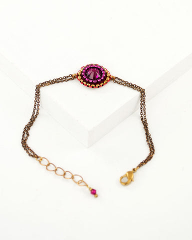 Delicate ruby red swarovski brass chain bracelet