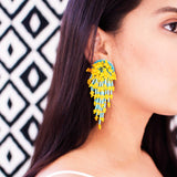 Beaded statement earrings in turquoise & mango yellow