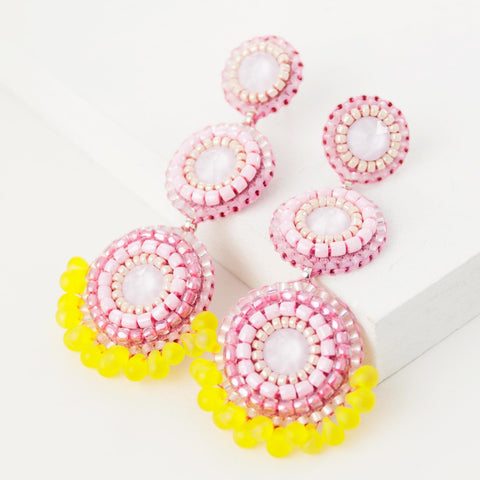 Baby pink yellow beaded statement dangle earrings