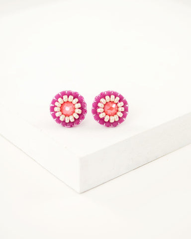 Coral stud earrings | tiny pink beaded earrings