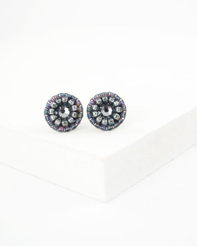Gray tiny stud earrings | Unique swarovski studs
