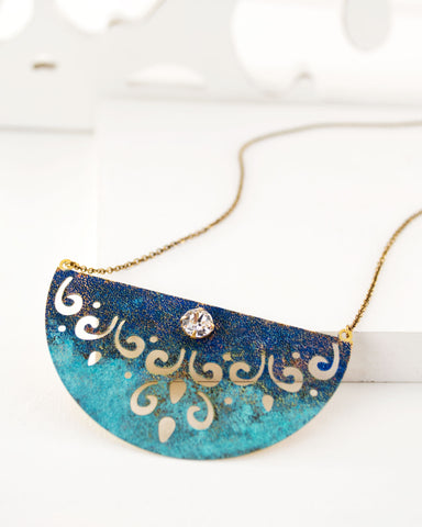 Brass turquoise blue swarovski necklace by Exquistry, handmade in Seattle
