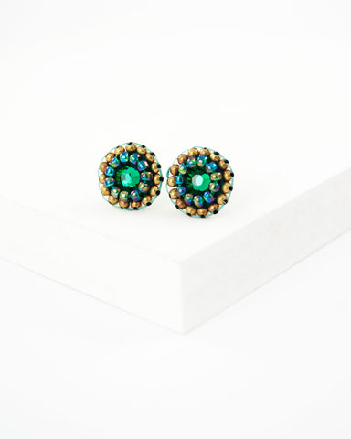 Emerald green swarovski delicate stud earrings