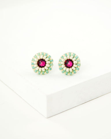 Ruby red mint green swarovski small stud earrings