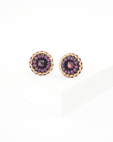 Burgundy maroon swarovski stud earrings