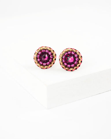 Ruby pink swarovski delicate stud earrings