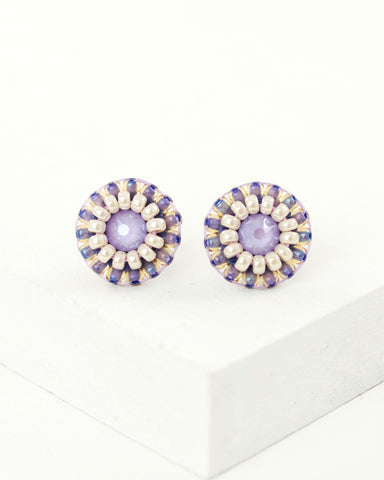 Dainty lilac stud earrings, hand beaded by Exquistry