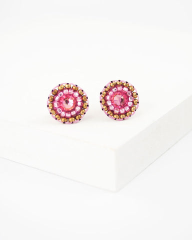 Pink swarovski rhinestone delicate stud earrings
