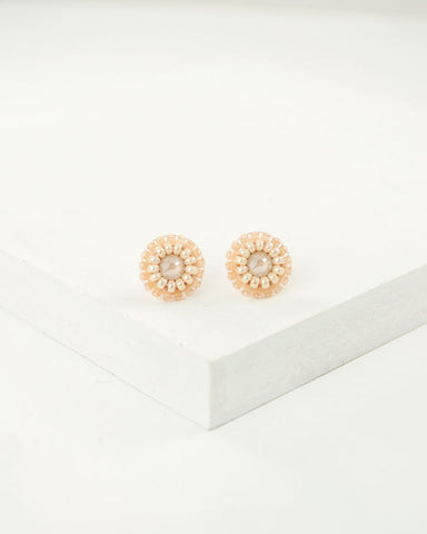 Cream off-white dainty stud earrings | tiny ivory earrings