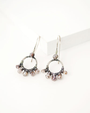 Silver circle earrings with blush raw zircon stones