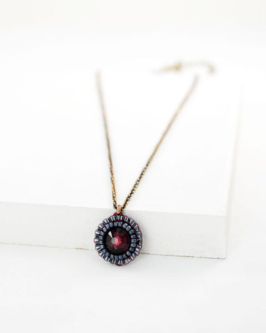 Burgundy pendant necklace | maroon sparkly crystal necklace