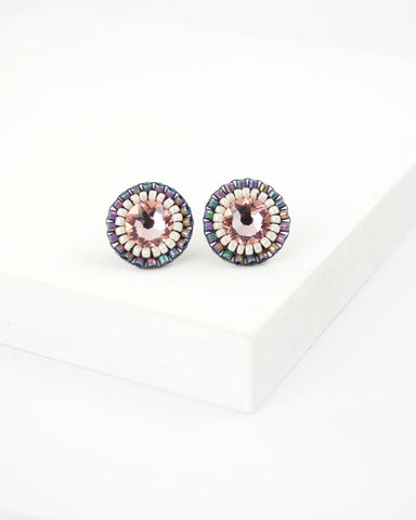 Blush pink earrings | Gray earrings | Rhinestone stud earrings