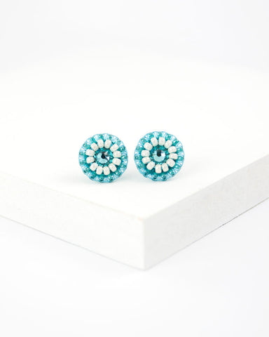 Turquoise small stud earrings | hand beaded studs
