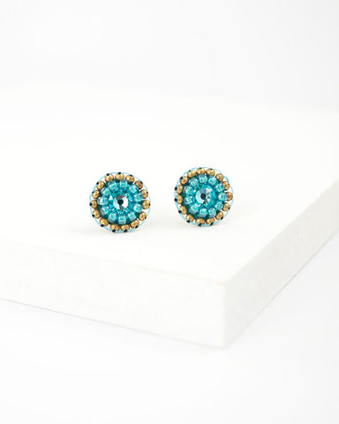 Teal turquoise small circle stud earrings