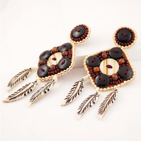Tribal inspired bone and horn bead statement earrings