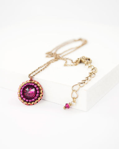 Ruby pink swarovski delicate necklace