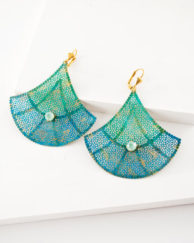 teal and turquoise hand painted earrings by Exquistry