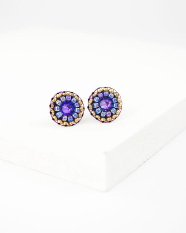 Purple swarovski delicate stud earrings