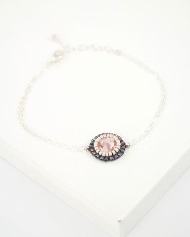 Delicate blush and gray swarovski bracelet