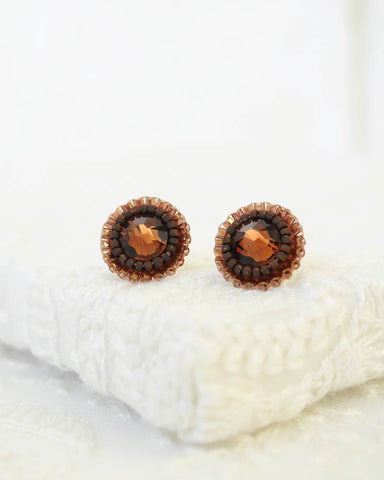 Brown stud earrings with swarovski crystals and seed beads
