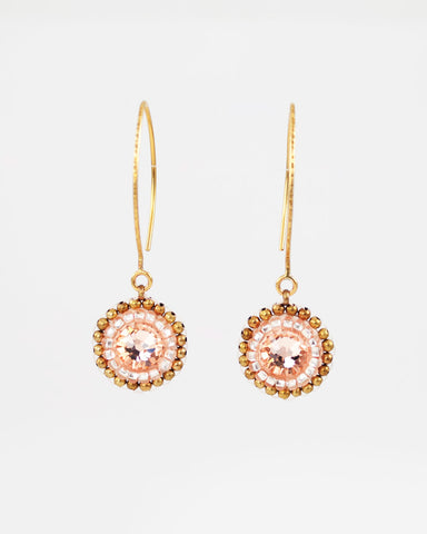 Gold peach dangle earrings with swarovski crystal