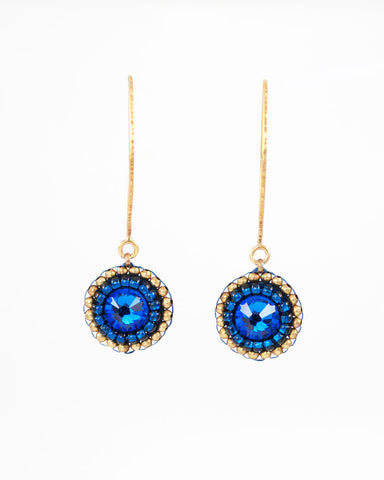 Gold blue dangle earrings with swarovski crystal