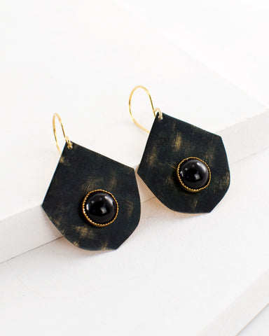 Hand painted green black fan dangle earrings by Exquistry