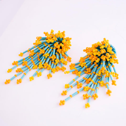 Mango yellow beaded earrings