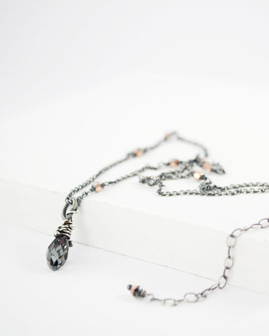 Silver dark gray swarovski pendant necklace