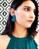 Turquoise blue minimalist earrings with hand cut brass dangles